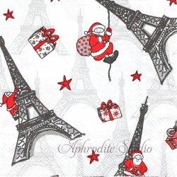 廃盤 CHRISTMAS IN PARIS エッフェル塔とサンタ 1枚 ばら売り 33cm ペーパーナプキン デコパージュ用 Ambiente