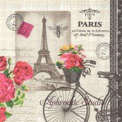 廃盤 Velo Parisien エッフェル塔と自転車と薔薇 Paula Scaletta 1枚 ばら売り 33cm ペーパーナプキン デコパージュ用 ppd