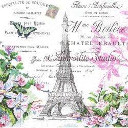 廃盤 La Tour Effel エッフェル塔とピンクの薔薇 Paula Scaletta 1枚 ばら売り 33cm ペーパーナプキン デコパージュ用 ppd