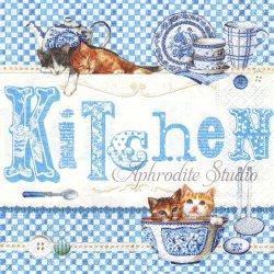 廃盤 BLUE KITCHEN キッチン&子猫 ブルー 1枚 ばら売り 33cm ペーパーナプキン デコパージュ用 Easy Life