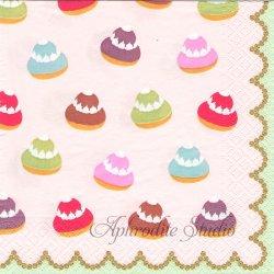 廃盤 PETIT CHOU ピンク ラデュレのプチシュー お菓子 Laduree 1枚 ばら売り 33cm ペーパーナプキン デコパージュ用 Caspari カスパリ