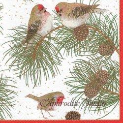 WOODLAND AND BIRDS 松と小鳥 和柄 Karen Fjord Kjaersgaad 1枚 ばら売り 33cm ペーパーナプキン デコパージュ用 Caspari カスパリ