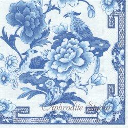 BLUE AND WHITE 陶器の模様 和柄 1枚 ばら売り 33cm ペーパーナプキン Caspari カスパリ