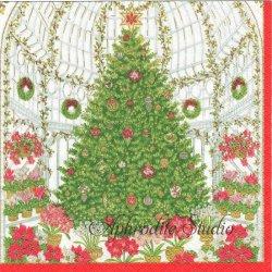CHRISTMAS AT THE GARDEN  温室のクリスマスツリー 王立園芸協会 1枚 ばら売り 33cm ペーパーナプキン デコパージュ用 Caspari カスパリ