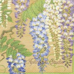 廃盤 WISTERIA ウィステリア 藤の花 和柄 ゴールド 1枚 バラ売り 33cm ペーパーナプキン Caspari カスパリ