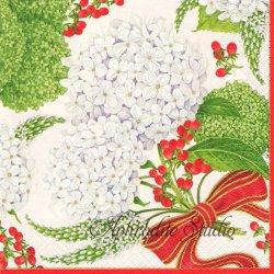 SNOWBALL HYDRANGEAS 白い紫陽花 ホワイト 1枚 ばら売り 33cm ペーパーナプキン デコパージュ用 Caspari カスパリ
