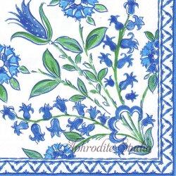 廃盤 CERAMICA 陶器に描かれた鈴蘭 ブルー Isabelle de Borchgave 1枚 ばら売り 33cm ペーパーナプキン デコパージュ用 Caspari カスパリ
