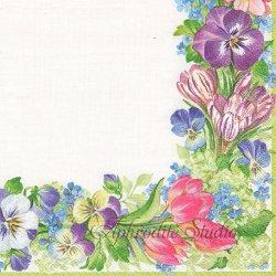 廃盤 SPRING GARLAND 花柄 Pamela Gladding 1枚 ばら売り 33cm ペーパーナプキン デコパージュ用 Caspari カスパリ