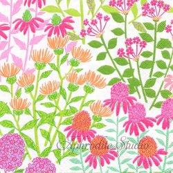 廃盤 WILDFLOWER MEADOW ピンクの花畑 1枚 ばら売り 33cm ペーパーナプキン デコパージュ用 Caspari カスパリ