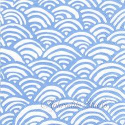 廃盤 LULU'S RAINBOW-BLUE 青梅波 ブルー 和柄 Lulu DK 1枚 ばら売り 33cm ペーパーナプキン デコパージュ用 Caspari カスパリ
