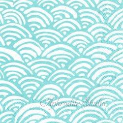 廃盤 LULU'S RAINBOW-AQUA 青梅波 アクア 和柄 Lulu DK 1枚 ばら売り 33cm ペーパーナプキン デコパージュ用 Caspari カスパリ