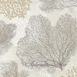 SEA FANS CORAL 珊瑚 シルバー Janine Moore 1枚 ばら売り 33cm ペーパーナプキン デコパージュ用 Caspari カスパリ