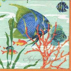 廃盤 MALDIVES 海の底の風景 by Pierre Fray 1枚 ばら売り 33cm ペーパーナプキン デコパージュ用 Caspari カスパリ