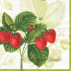 廃盤 LES FRUITS ROUGE 苺とさくらんぼ ストロベリー ニューヨーク植物園 1枚 ばら売り 33cm ペーパーナプキン デコパージュ用 Caspari カスパリ