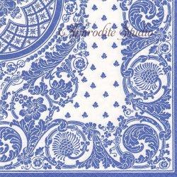 JACQUARD LINEN ジャガード模様 ブルー by Musee de l'Impression 1枚 ばら売り 33cm ペーパーナプキン デコパージュ用 Caspari カスパリ