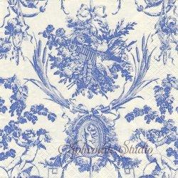 廃盤 ROMANTIC TOILE ブルー ヴィンテージ柄 by Musee de l'Impression 1枚 ばら売り 33cm ペーパーナプキン デコパージュ用 Caspari カスパリ