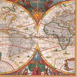 WORLD MAP 世界地図 by Huntington Library ヴィンテージ 1枚 ばら売り 33cm ペーパーナプキン デコパージュ用 Caspari カスパリ