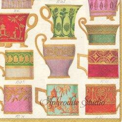 V&A SALON DE THE ティーカップ アイボリー Victoria & Albert Museum 1枚 ばら売り 33cm ペーパーナプキン デコパージュ用 Caspari カスパリ