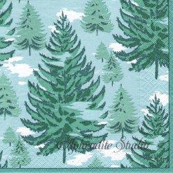 廃盤 BLUE SPRUCE もみの木 グリーン Paule Marrot 1枚 ばら売り 33cm ペーパーナプキン デコパージュ用 Caspari カスパリ
