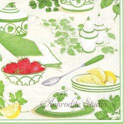 廃盤 BREAKFAST 朝食 グリーン Joanna Hansen 1枚 1枚 ばら売り 33cm ペーパーナプキン Caspari カスパリ