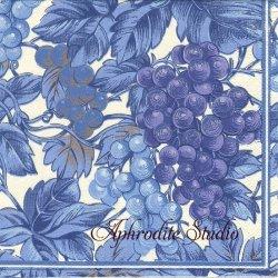 廃盤 Harvest Toile 葡萄 ブルー 1枚 ばら売り 33cm ペーパーナプキン デコパージュ用 Caspari カスパリ
