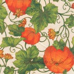PUMPKINS カボチャ アイボリー オレンジ Pamela Gladding 1枚 ばら売り 33cm ペーパーナプキン デコパージュ用 Caspari カスパリ