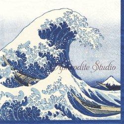 THE GREAT WAVE 神奈川沖浪裏 葛飾北斎 ブルー 和柄 Museum of Fine Arts, Boston 1枚 ばら売り 33cm ペーパーナプキン Caspari カスパリ