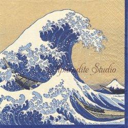 THE GREAT WAVE 神奈川沖浪裏 葛飾北斎 ゴールド 和柄 Museum of Fine Arts, Boston 1枚 ばら売り 33cm ペーパーナプキン Caspari カスパリ
