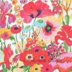 SECRET GARDEN 水彩画の秘密の花園 アイボリー Collier Campbell 1枚 ばら売り 33cm ペーパーナプキン Caspari カスパリ