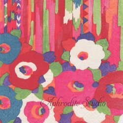 COLUMBIA ROAD デザイン化された花柄 ピンク Collier Campbell 1枚 ばら売り 33cm ペーパーナプキン Caspari カスパリ