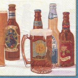MICROBREW ビールの瓶 Robert Dohar 1枚 ばら売り 33cm ペーパーナプキン Caspari カスパリ