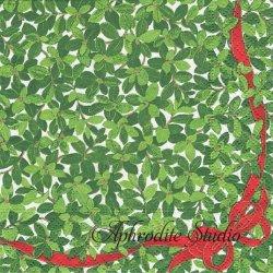 BOXWOOD 赤いリボンのクリスマスリーフ Janine Moore 1枚 ばら売り 33cm ペーパーナプキン Caspari カスパリ