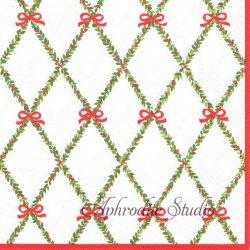 GARLAND TRELLIS 赤いリボンとクリスマスガーランド Janine Moore 1枚 ばら売り 33cm ペーパーナプキン Caspari カスパリ