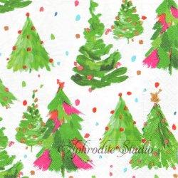 BRUSHSTROKE TREES 筆で描いたクリスマスツリー アイボリー パール加工 1枚 ばら売り 33cm ペーパーナプキン Caspari カスパリ
