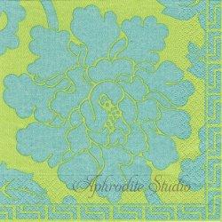 廃盤 CHINESE PEONY DAMASK オリエンタルダマスク模様 グリーン Colonial Williamsburg 1枚 ばら売り 33cm ペーパーナプキン Caspari カスパリ