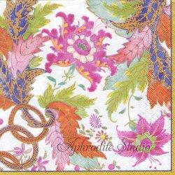 TOBACCO LEAF オリエンタルなお花柄 アイボリー Colonial Williamsburg 1枚 ばら売り 33cm ペーパーナプキン Caspari カスパリ