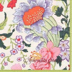 CHINESE SILK オリエンタルなお花柄 アイボリー 1枚 ばら売り 33cm ペーパーナプキン Caspari カスパリ