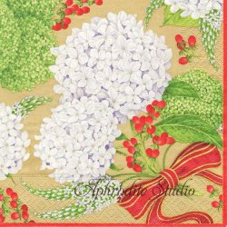 SNOWBALL HYDRANGEAS 白い紫陽花 ゴールド 1枚 ばら売り 33cm ペーパーナプキン デコパージュ用 Caspari カスパリ