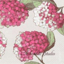 北欧 ペンティック HORTENSIA 紫陽花 ピンク 1枚 ばら売り 33cm ペーパーナプキン PENTIK