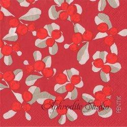 北欧 廃盤 ペンティック VARPU 赤い実 レッド 1枚 ばら売り 33cm ペーパーナプキン PENTIK