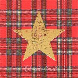Tartan Star レッド ゴールドの星 1枚 ばら売り 33cm ペーパーナプキン デコパージュ用 紙ナプキン ppd