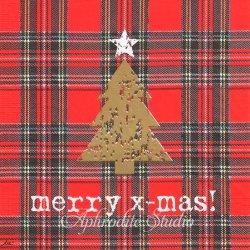 Tartan Tree レッド ゴールドのクリスマスツリー 1枚 ばら売り 33cm ペーパーナプキン デコパージュ用 紙ナプキン ppd
