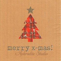 Tartan Tree ナチュラル タータンチェックのクリスマスツリー 1枚 ばら売り 33cm ペーパーナプキン デコパージュ用 紙ナプキン ppd