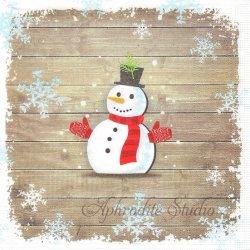 Snowman with Gloves クリスマス スノーマン 1枚 ばら売り 33cm ペーパーナプキン デコパージュ用 紙ナプキン ppd