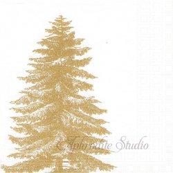 Englaved Tree ゴールドのクリスマスツリー Paula Scaletta 1枚 ばら売り 33cm ペーパーナプキン デコパージュ用 紙ナプキン ppd