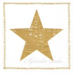Star Fashion ゴールドの星 1枚 ばら売り 33cm ペーパーナプキン デコパージュ用 紙ナプキン ppd