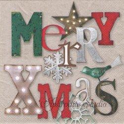 SHINING X-MAS クリスマスの文字 1枚 ばら売り 33cm ペーパーナプキン デコパージュ用 Ambiente