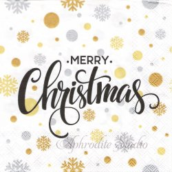 CHRISTMAS DOTS 文字 クリスマス 1枚 ばら売り 33cm ペーパーナプキン デコパージュ用 Ambiente