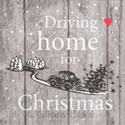 廃番 DRAIVING HOME もみの木を運ぶ車 クリスマス 1枚 ばら売り 33cm ペーパーナプキン デコパージュ用 Ambiente