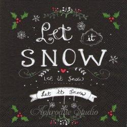 廃番 FORECAST ブラック Let it SNOW 文字 クリスマス 1枚 ばら売り 33cm ペーパーナプキン デコパージュ用 Ambiente